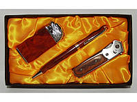 Подарочный набор EGLANTINE зажигалка+ручка+складной нож алPN3-43-1