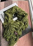 Оливковий шарф з китицами новий з бірками, фото 3