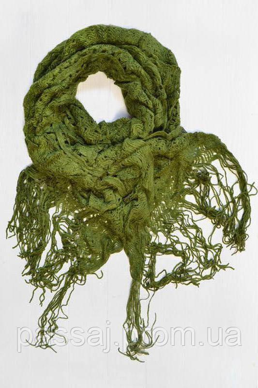 Оливковий шарф з китицами новий з бірками