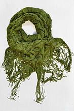 Оливковый шарф с китицами новый с бирками