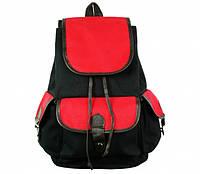 Рюкзак городской, рюкзак прогулочный, холщовый, Черно красный