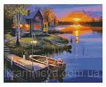 Алмазная мозаика Домик у реки на закате, 40х50 Strateg (FA10030)
