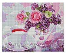 Алмазная мозаика Букетик и чашечка чая, 40х50 Strateg (FA40793)