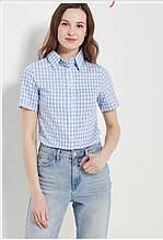 Стильна сорочка з коротким рукавом в клітинку