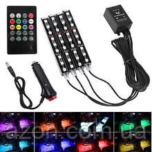 Декоративна RGB LED підсвічування салону авто, світломузика, ДУ, 12В