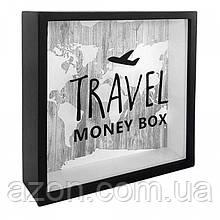 Деревянная копилка для денег Travel money box (самолет)