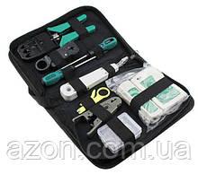Набір сетевика для обтискача, тестування і монтажу витої пари в чохлі 7186