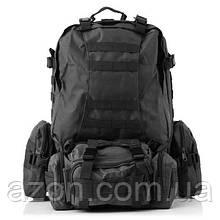 Рюкзак тактичний з підсумкими B08 чорний, 55 л