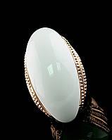 Позолоченное кольцо с крупным белым камнем 16 размер