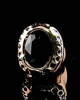 Позолоченное кольцо с крупным черным камнем 17 размер