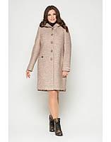 Женское демисезонное пальто большого размера в бежевом цвета из варенной шерсти