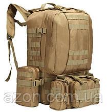 Рюкзак тактичний з підсумкими A08 50 л, пісочний