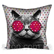 Подушка кіт в окулярах