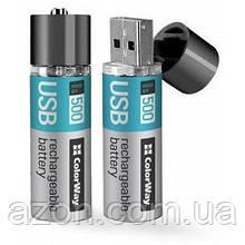 Аккумулятор Colorway AA USB 1200 mAh 1.5V R6 * 2 (CW-UBAA-02)