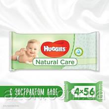 Вологі серветки Huggies Natural Care 56 х 4 шт (5029053550183)