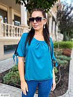 Блуза жіноча стильна коротка вільна з коротким рукавом р-ри 42-48 арт. д41322