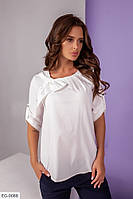 Легка красива жіноча блузка біла з коротким рукавом р-ри 42-48 арт. 11-1