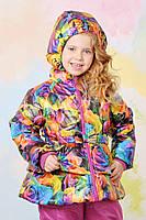 Красивая куртка для девочки на весну с цветочным принтом, фото 1