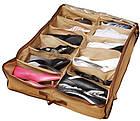 [ОПТ] Органайзер обувной коробка для хранения обуви на 12 пар с прозрачной крышкой на замке Shoes Under, фото 3