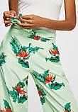 Широкие мятные  штаны с принтом mango, фото 3