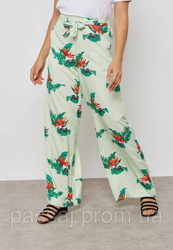Широкие мятные  штаны с принтом mango