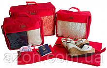 Набор дорожных сумок 5 шт (красная)