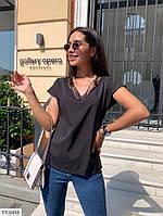 Блуза футболка женская легкая короткий рукав со вставками из кружева р-ры 42-48 арт.  р15404, фото 1