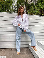 Красива блуза-сорочка жіноча сорочка на гудзиках з довгим рукавом р-ри 42-46 арт. 4152