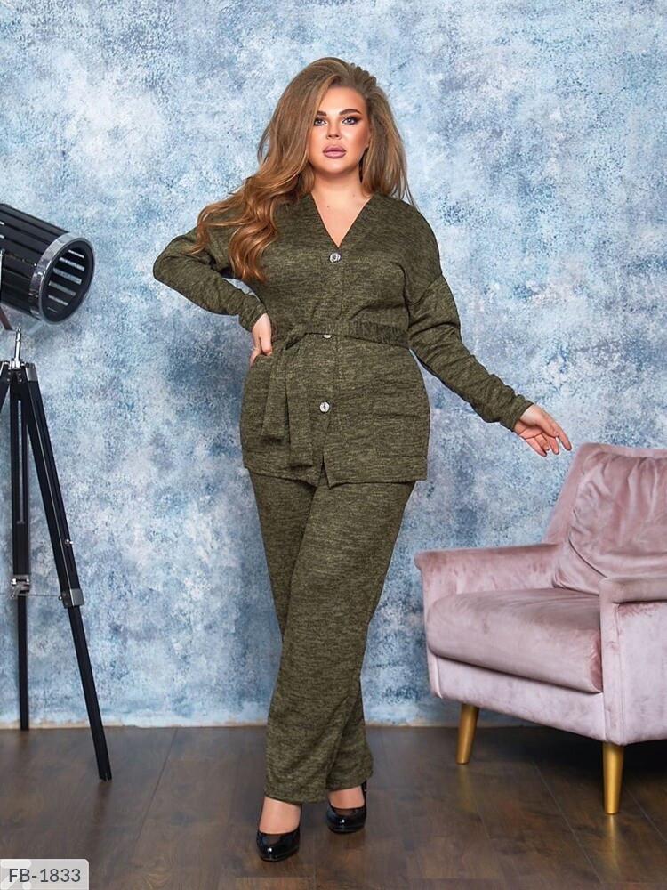 Практичный ангоровый костюм брюки джоггеры и кофта под пояс с карманами р: 50-52, 54-56, 58-60, 62-64 Арт. 908