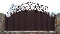 Кованный забор с профнастилом (740).