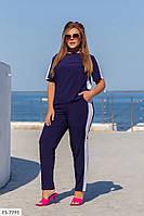 Повседневный стильный костюм из софта в спортивном стиле брюки с карманами и футболка р: 48-50, 52-54, 56-58, фото 1