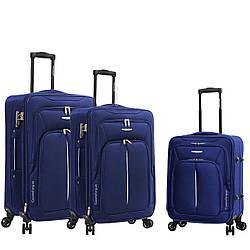 Чемодан ткань нейлон 4 колеса с расширением большой L :77*47*29 см 3,5 кг 110 л темно синий Madisson 02103