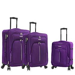 Чемодан ткань нейлон 4 колеса с расширением большой L :77*47*29 см 3,5 кг 110 л фиолетовый Madisson 02103