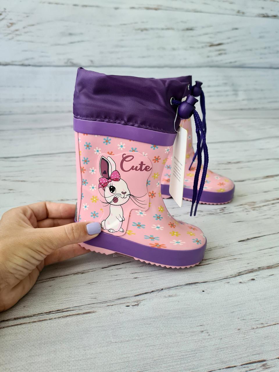 Дитячі гумові чоботи для дівчаток Bi&Ki 21р, 13.7 см
