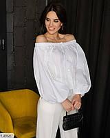 Блуза-сорочка жіноча модна вільна легка з відкритими плечима р-ри 40-46 арт. 203