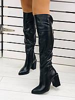 Сапоги ботфорты демисезонные чёрные из натуральной кожи на удобном каблуке, фото 1