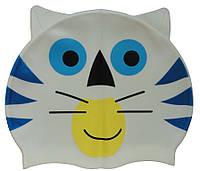 Дитяча силіконова шапочка для плавання з вушками, білого кольору, фото 1
