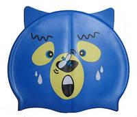Детская силиконовая шапочка для плавания с ушками,  синего цвета, фото 1