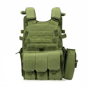 Жилет тактичний AOKALI Outdoor А64 Green армійський для спецслужб військових розвантажувальний