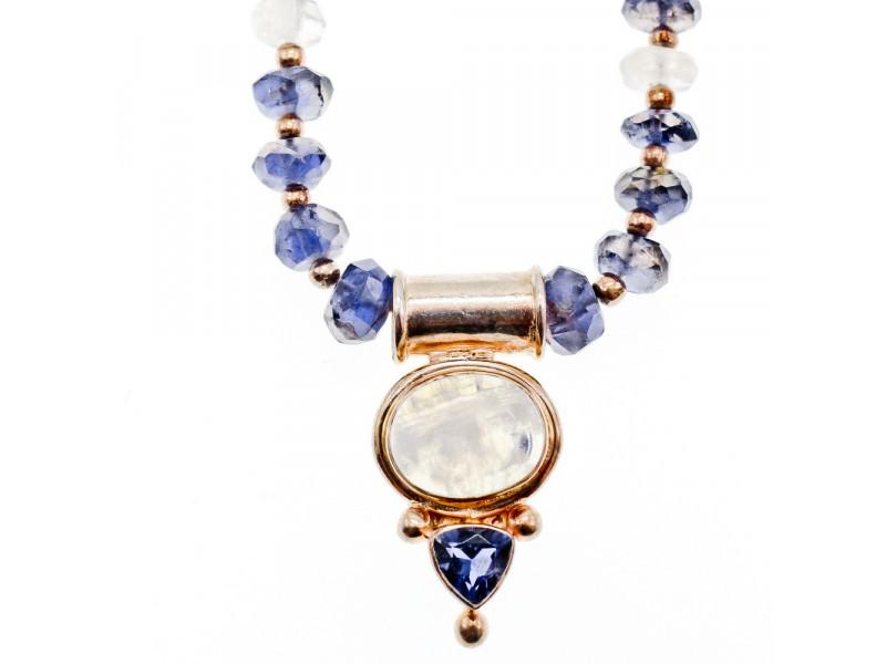 Серебряное ожерелье с лунным камнем агатом и фиолетовым турмалином