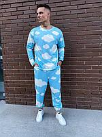 Штаны и свитшот голубого цвета с принтом, фото 1