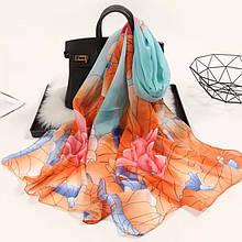 Женский шифоновый шарф разноцветный - размер шарфа 150*46см, шифон