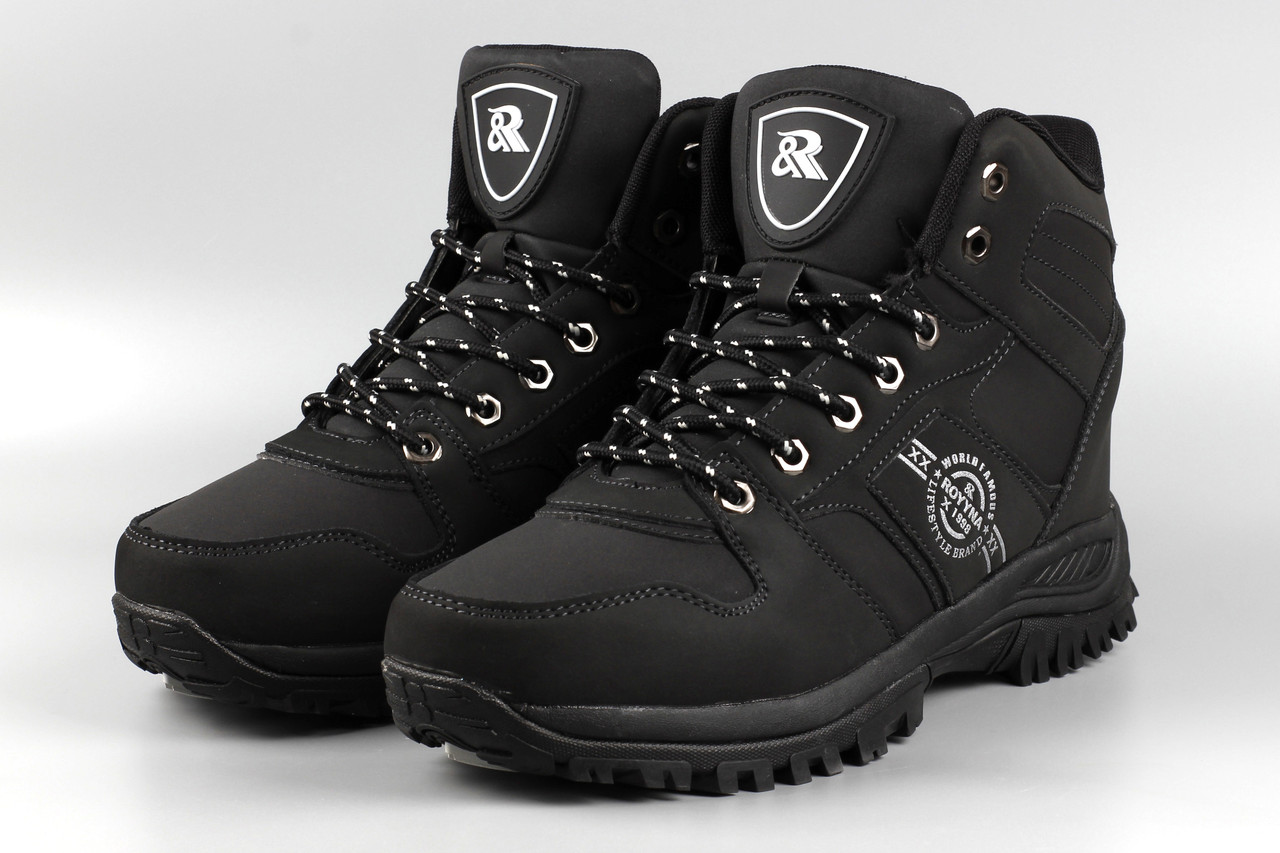Ботинки мужские черные Royyna 018D-6 Ройна Бона Bona Размеры 42 43 44 45 46