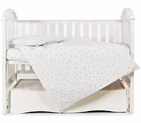 Змінна постіль 3 ел Twins Comfort Soft (фланель) blue Stars, білий / блакитний