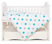 Змінна постіль 3 ел Twins Eco Stars Lagoon blue, блакитний/білий