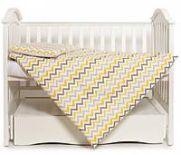 Змінна постіль 3 ел Twins Happy wave yellow, білий/жовтий