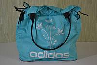 Молодежная женская сумка adidas LS-1029 (P2) цветы (бирюза), фото 1