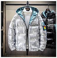 Мужская подростковая зимняя куртка, серебристая, размер 44-48, фото 1