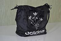 Молодежная женская сумка Adidas LS-1029 (P2) цветы (черно-серебристый), фото 1