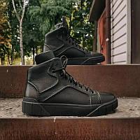 Мужские кожаные зимние ботинки, чёрные, размер 40-45, фото 1